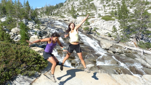 Reem and I, jumping for joy at Horsetail Falls