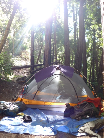 Our lovely Marmot tent on a hill by Sykes Hot Springs