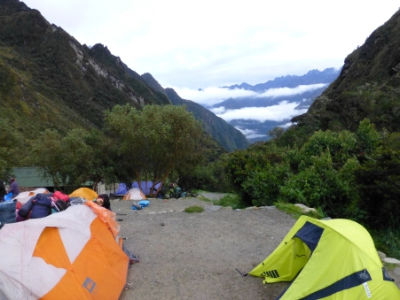 Our mist-covered valley camp for night 2