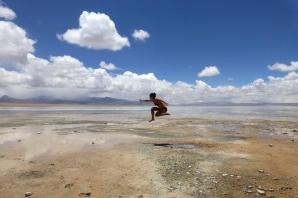Jumping for joy - at La Reserva Nacional de Fauna Andina Eduardo Avaroa