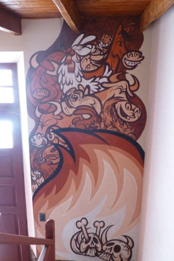 A mural in Neyda's office