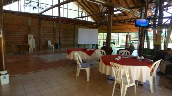 The communal area / dining area / fireplace / movie night screenings