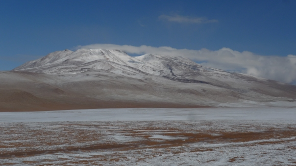 Snow covered mountains on high altiplano deserts