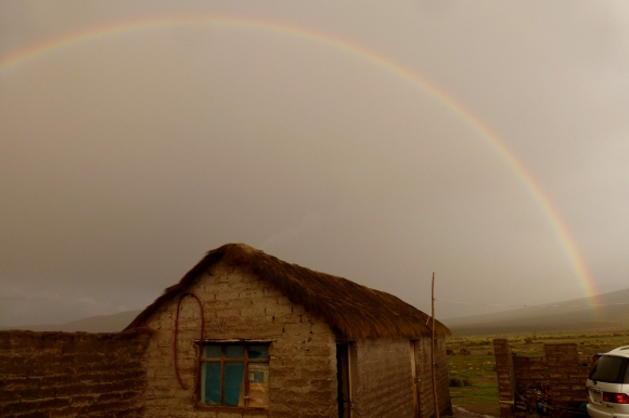 A rainbow near our small town hostel