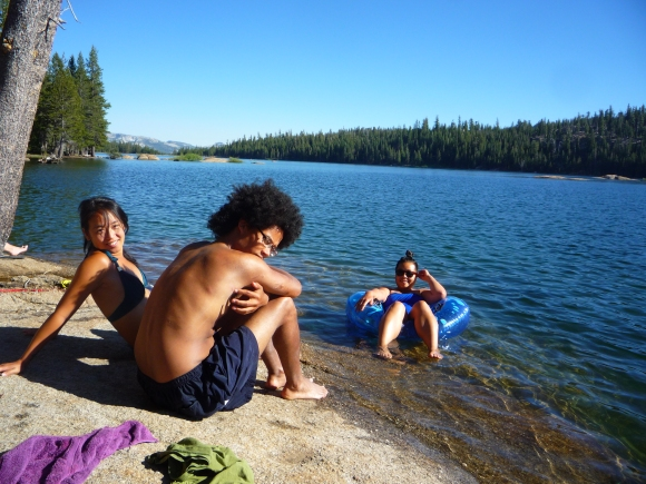 Joy, Rob and Mey loungin at the edge of Lower Blue Lake